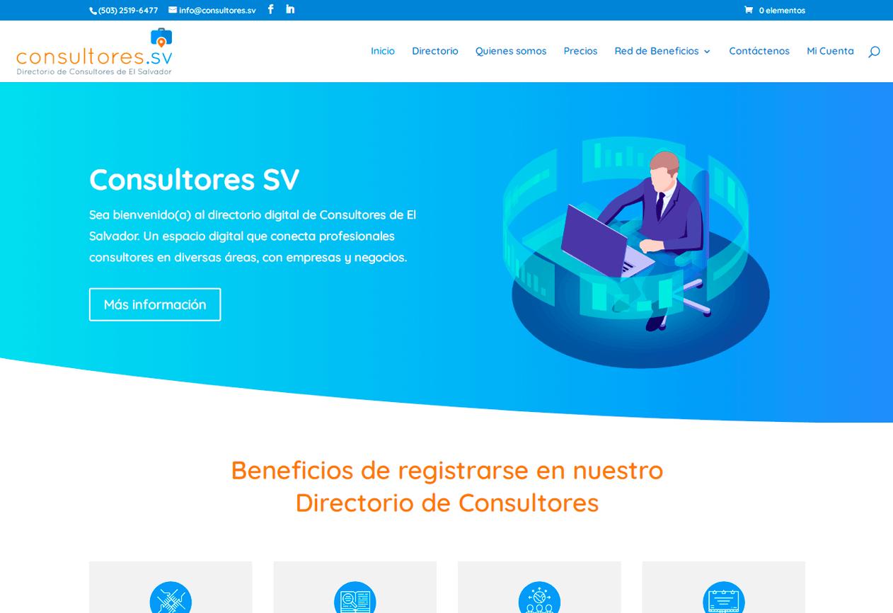 Desarrollo de sitio web consultores.sv