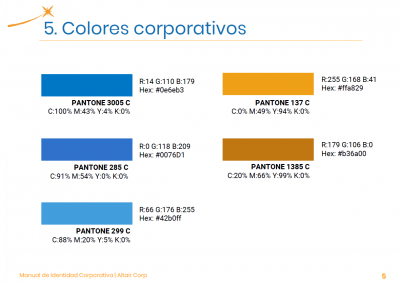 Altair Corp | Colores corporativos