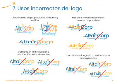 Altair Corp | Uso incorrecto de logo