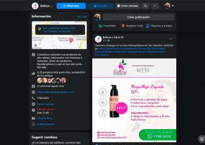 Belleza y Salud SV | Publicación Facebook